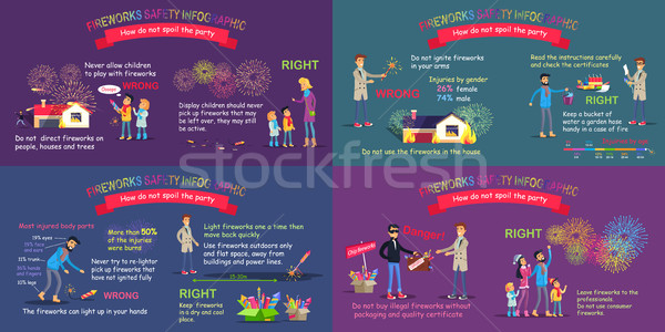 Fireworks Safety Infographic Comparative Poster Stock photo © robuart