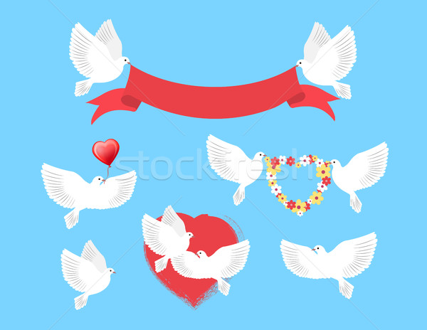 White Pigeons Holding Red Ribbon, Flower Wreath Stock photo © robuart