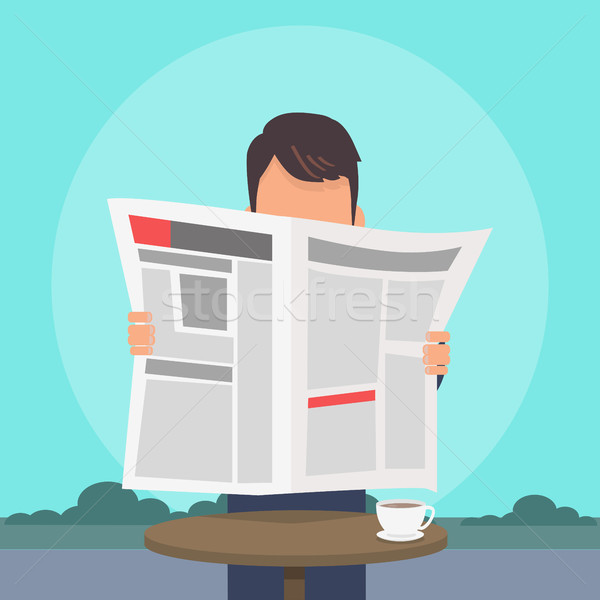Man Reading Newspaper Flat Vector Concept Stock photo © robuart