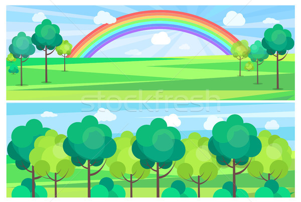 Picturesque Scenery Landscape with Color Rainbow. Stock photo © robuart