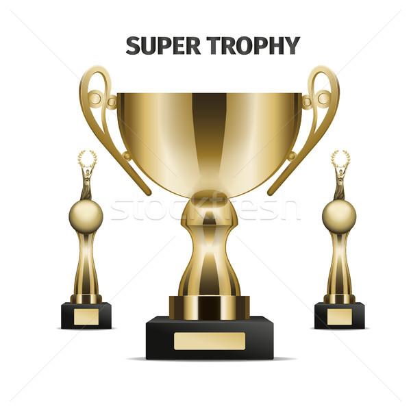 Super Trophy cups realistic vector set Stock photo © robuart