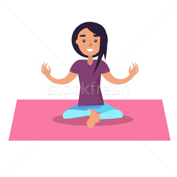 Lány jóga lótusz pozició rózsaszín szőnyeg Stock fotó © robuart