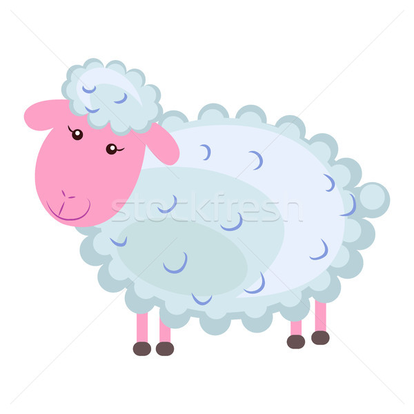 Cute sheep Cartoon Flat Vector Sticker or Icon Stock photo © robuart