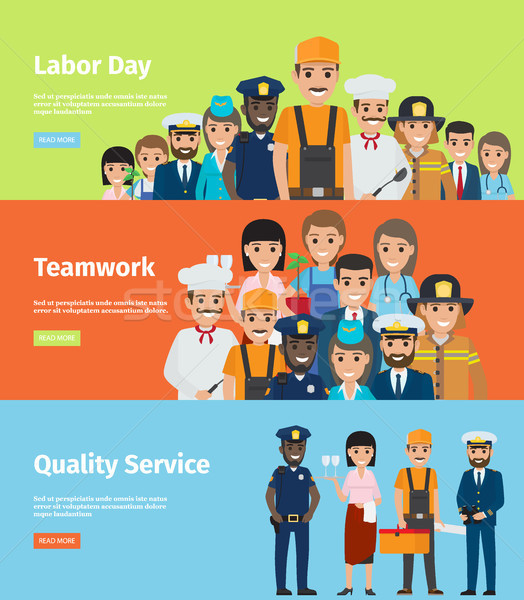 Labor Day, Teamwork and Quality Service Info Page Stock photo © robuart
