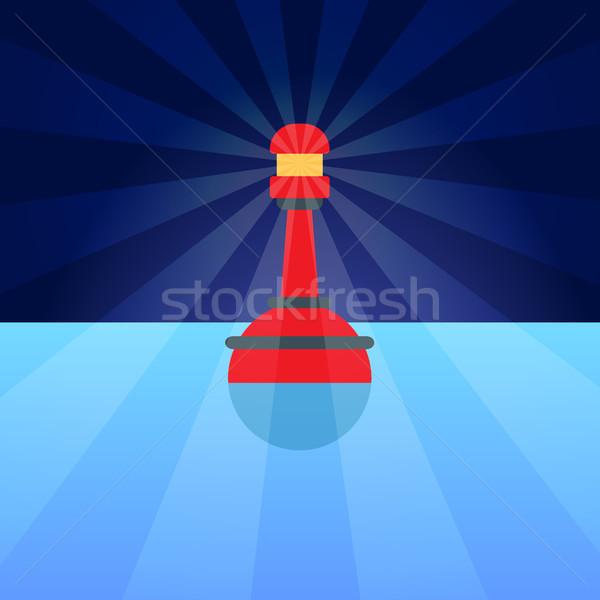 Piros műanyag bója öngyújtó kék víz Stock fotó © robuart