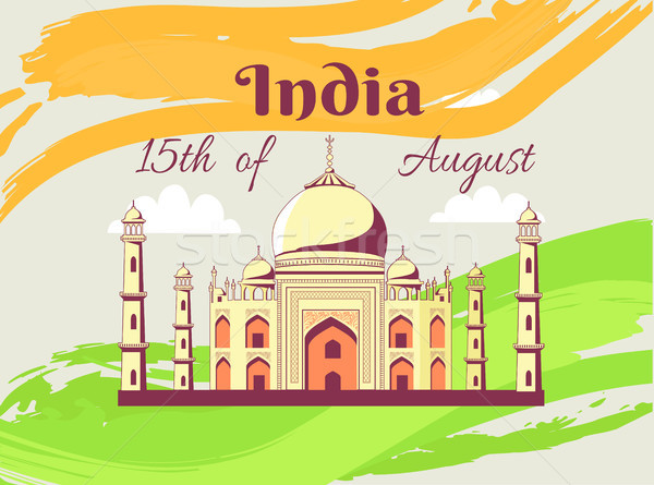 Independence Day of India Poster with Taj Mahal Stock photo © robuart