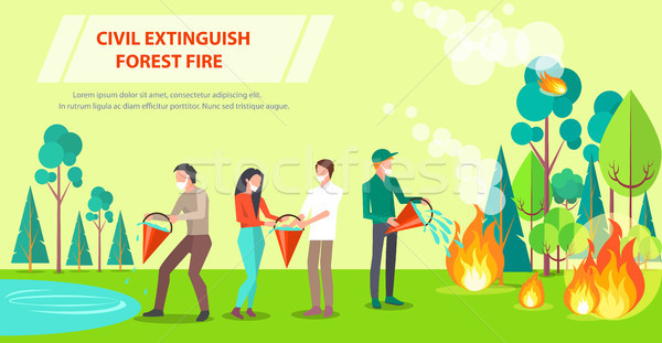 Stock photo: Poster of Civil Extinguishing Forest Fire