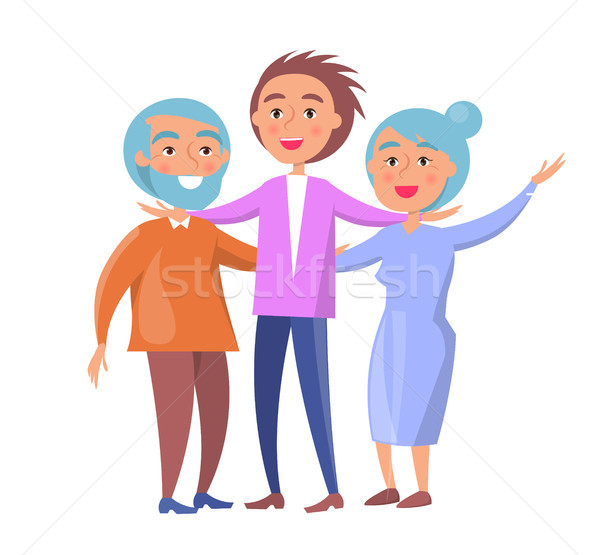 Happy Mature Family Wife and Husband and Son Stock photo © robuart