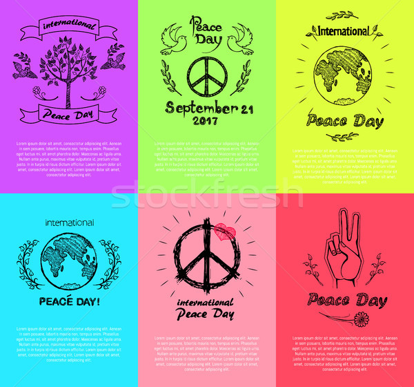 Set of Posters for Peace Day Vector Illustration Stock photo © robuart