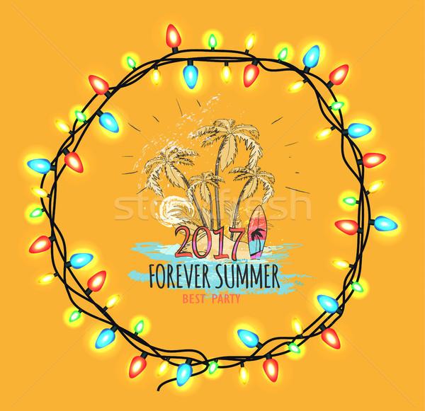 Voor altijd zomer best partij geïsoleerd oranje Stockfoto © robuart