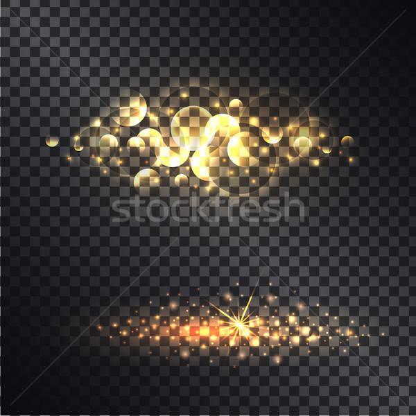 Golden Light Effect Isolated on Black Ttransparent Stock photo © robuart