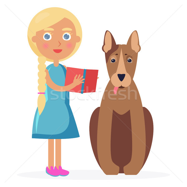 Small Girl Stands with Bull Terrier and Holds Book Stock photo © robuart