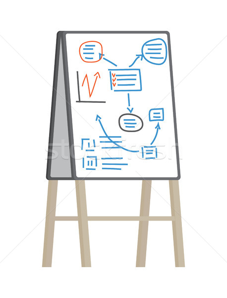Office Flipchart With Plan Vector Illustration Stock photo © robuart