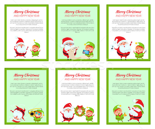 Set of Merry Christmas Cards Vector Illustration Stock photo © robuart