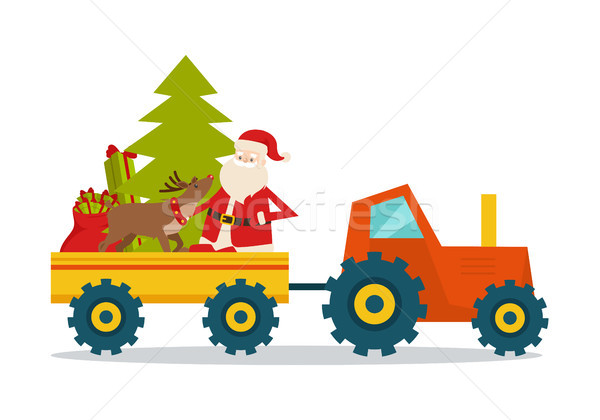 Santa Claus on Strong Model of Modern Transport Stock photo © robuart
