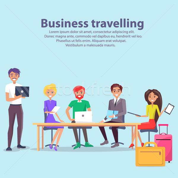 Stock fotó: üzlet · utazás · munkások · szöveg · minta · megbeszél
