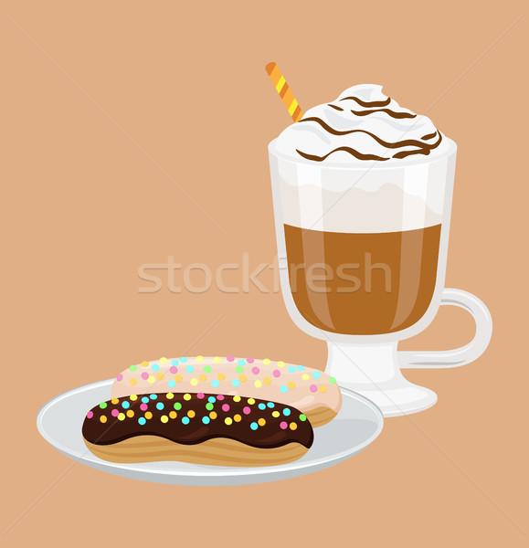 капучино Sweet хлебобулочные Кубок соломы пена Сток-фото © robuart