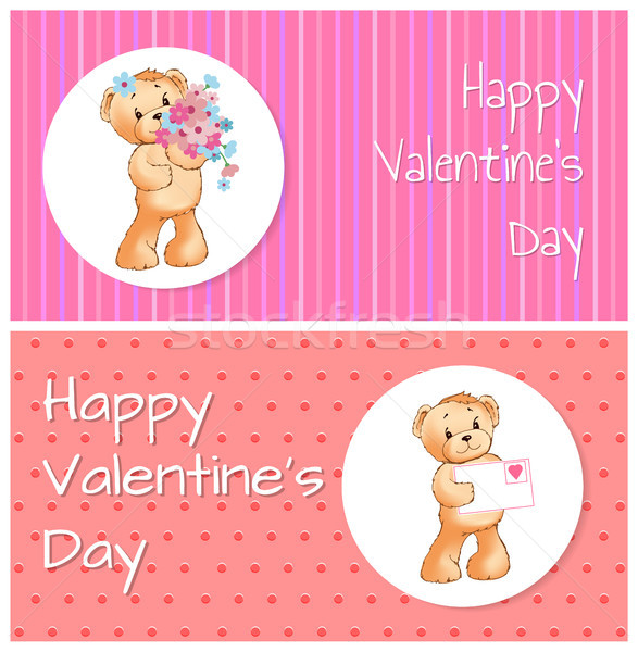 Mutlu sevgililer günü ayı ayarlamak posterler ayılar Stok fotoğraf © robuart