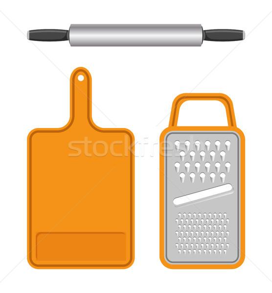 Szett konyhai felszerelés izolált fehér mező sablonok Stock fotó © robuart
