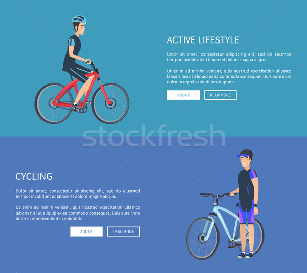Stock photo: Active Lifestyle Cycling Web Vector Illustration