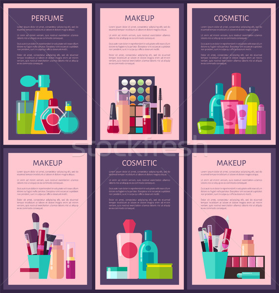 Perfume Makeup Cosmetic Cards Vector Illustration Stock photo © robuart