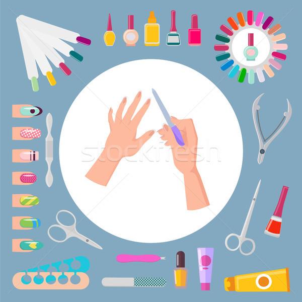 Nail Art and Instruments Set Vector Illustration Stock photo © robuart