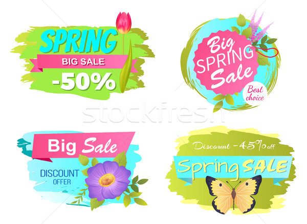 Spring Big Sale Discounts 50 Posters Set Labels Stock photo © robuart