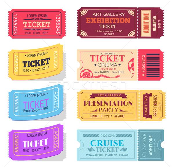 Ticket presentatie partij kunstgalerie bioscoop cruise Stockfoto © robuart