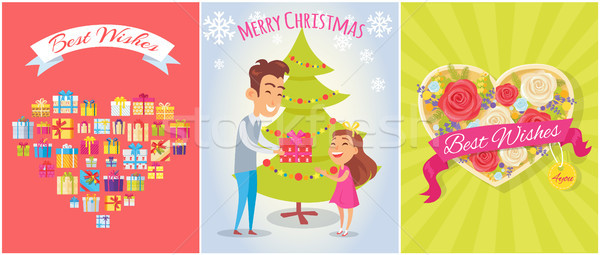 Best Wishes, Merry Christmas Vector Illustration Stock photo © robuart