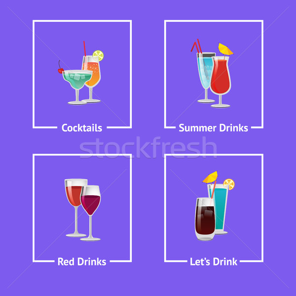 Cocktails and Summer Drinks Vector Illustration Stock photo © robuart