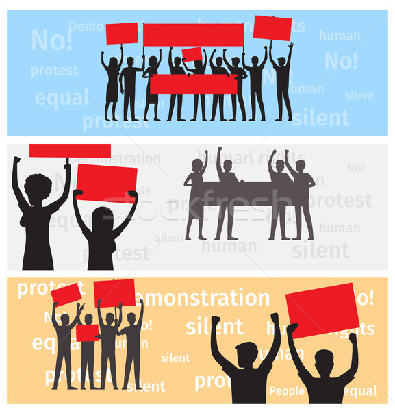 Silhouettes of Strike People Holds Color Placards Stock photo © robuart