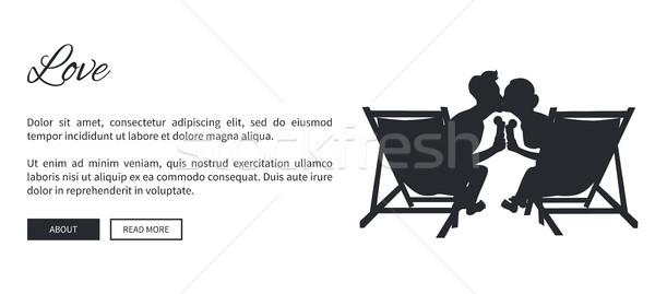 Casal silhueta vetor teia bandeira beijando Foto stock © robuart