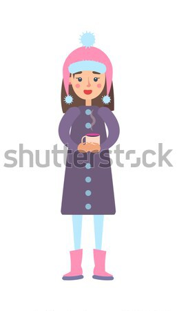 Girl Warm Winter Cloth with Cup of Hot Tea Drink Stock photo © robuart