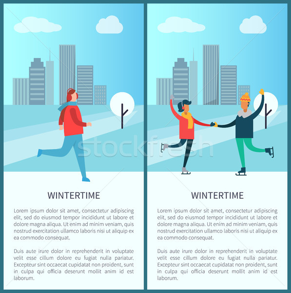 Wintertime Poster Woman Jogging Skating in Park Stock photo © robuart