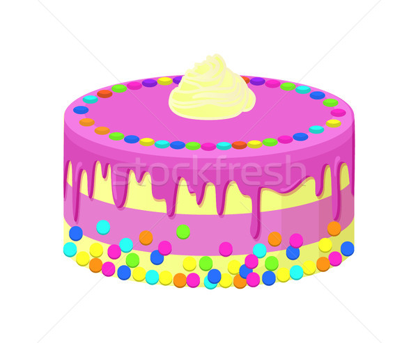 Delicious Cake with White Chocolate, Round Candies Stock photo © robuart