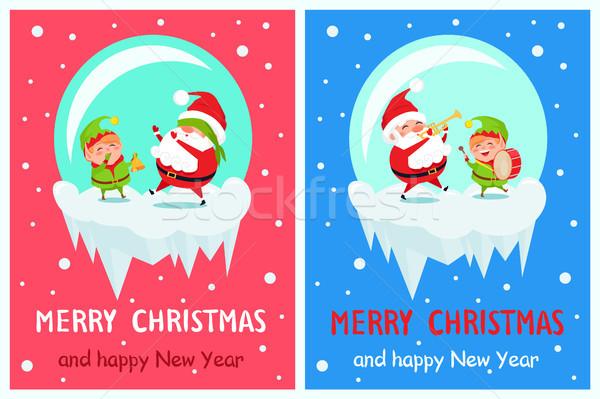 Joyeux Noël happy new year accueil cartes carte de vœux Photo stock © robuart