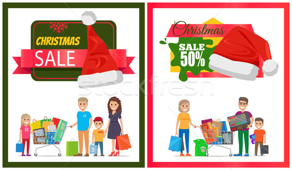 Two Christmas Sale Posters Vector Illustration Stock photo © robuart
