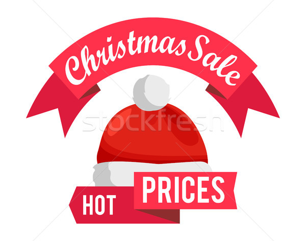 Hot Prices Christmas Sale Promo Label Santa Hat Stock photo © robuart