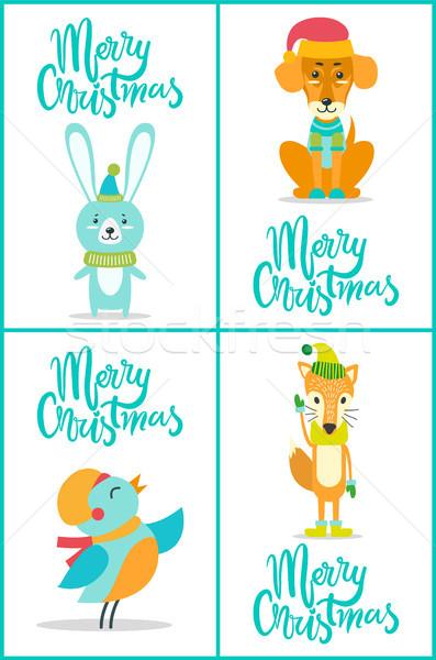 Merry Christmas Animals on Vector Illustration Stock photo © robuart