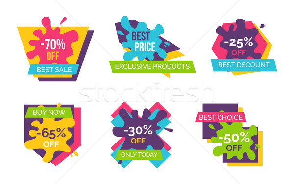 Stock photo: -70 Off Best Sale Stickers Vector Illustration