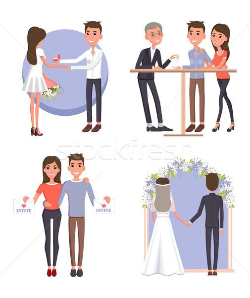 Couple Gets Ready for Big Wedding Ceremony Set Stock photo © robuart