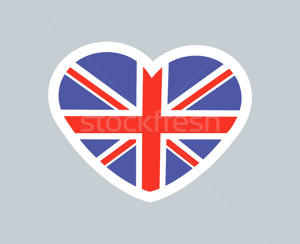Brits hart cute sticker mooie kaart Stockfoto © robuart