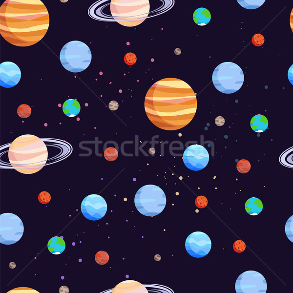 Space and Planets Pattern Vector Illustration Stock photo © robuart