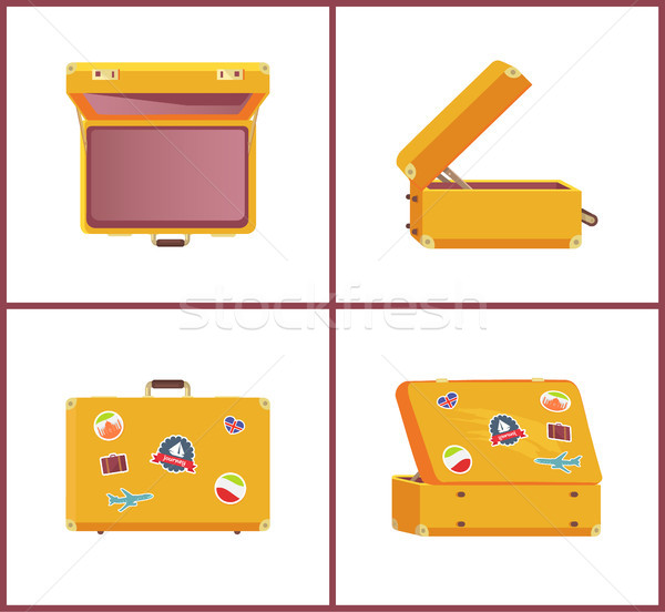 Set of Retro Suitcases Different Angles Memories Stock photo © robuart