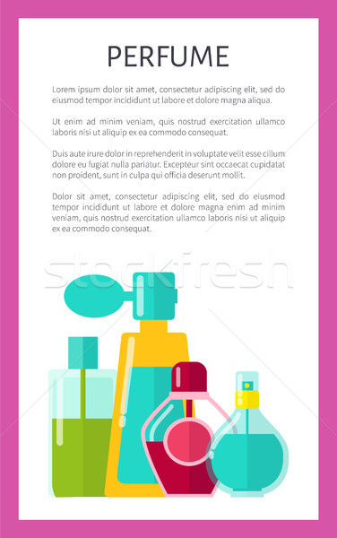 Perfum plakat tekst próba tytuł ramki Zdjęcia stock © robuart