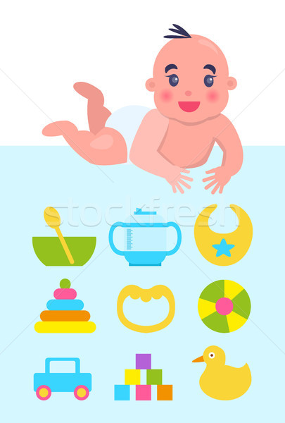 Lying on Floor Newborn with Toys and Dishware Stock photo © robuart