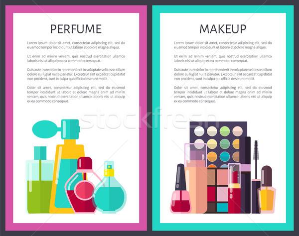 Pary makijaż perfum wielobarwny karty różny Zdjęcia stock © robuart