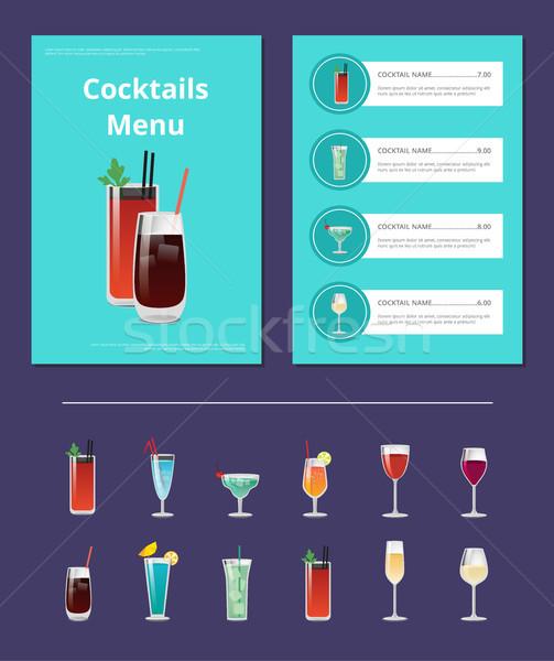 Cocktail menu poster sanguinosa whiskey cola Foto d'archivio © robuart