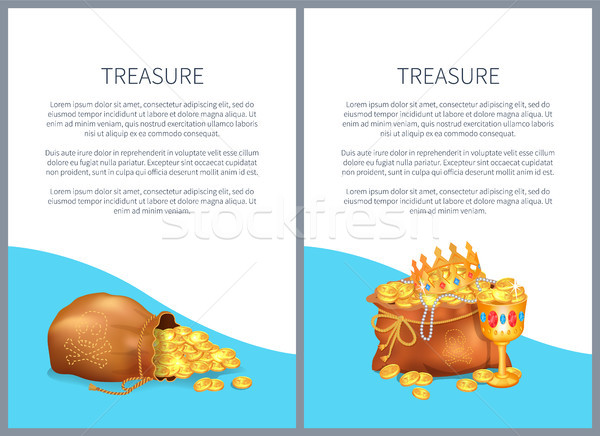 Treasure Hidden in Bags, Royal Crown and Goblet Stock photo © robuart