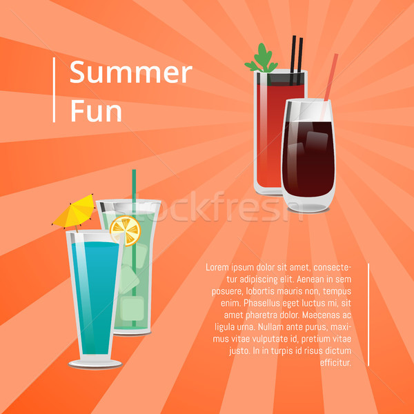 Summer Fun Poster with Bloody Mary Cocktail Vector Stock photo © robuart